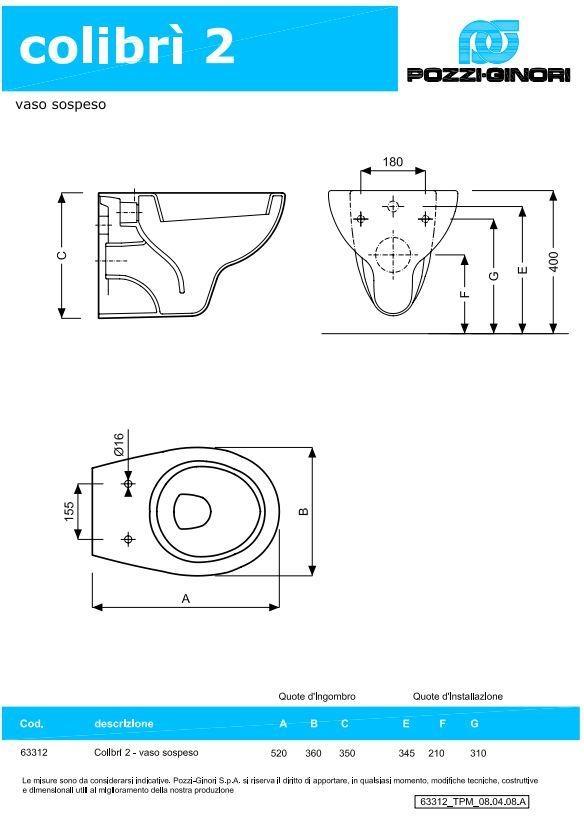 Misure Ingombro Sanitari ~ Ispirazione Interior Design & Idee Mobili