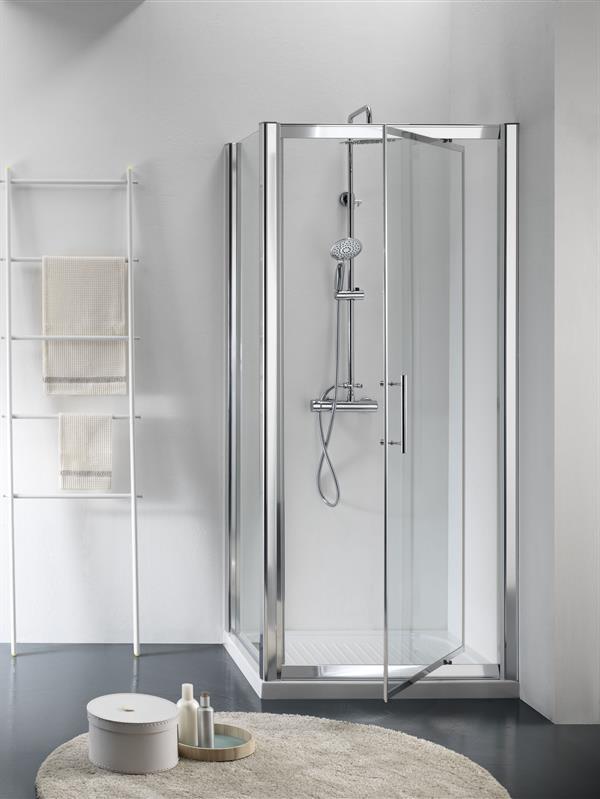 Box Doccia In Cristallo Satinato : Box doccia flag profilo alluminio argento satinato